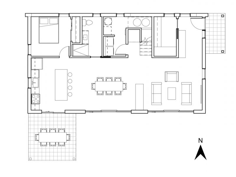 Plan du rez-de-chaussée du projet La Mésange