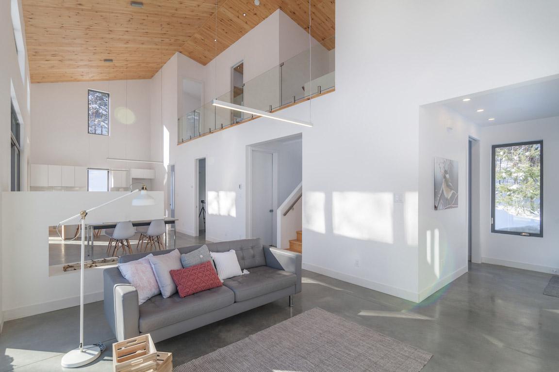 Vue de l'espace de vie à aire ouverte et du hall d'entrée, projet La Mésange réalisé par Biophile
