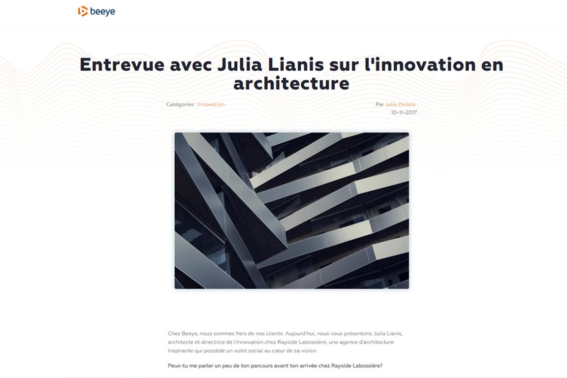 Visuel de l'entrevue avec Julia Lianis sur l'innovation en architecture publiée sur le site de BEEYE