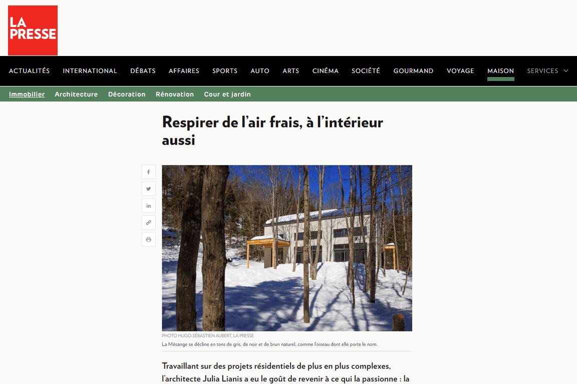 Visuel de l'article « Respirer de l'air frais, à l'intérieur aussi » publié sur le site de La Presse
