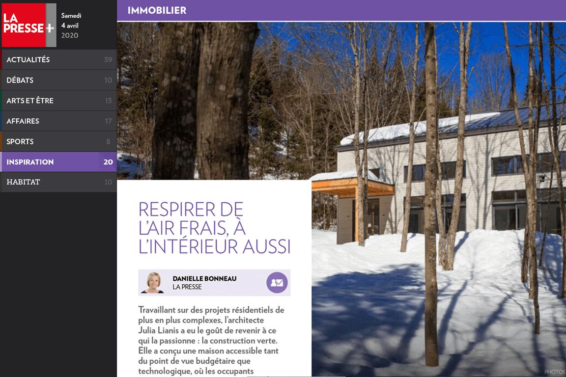 Visuel de l'article « Respirer de l'air frais, à l'intérieur aussi » publié sur le site de La Presse Plus