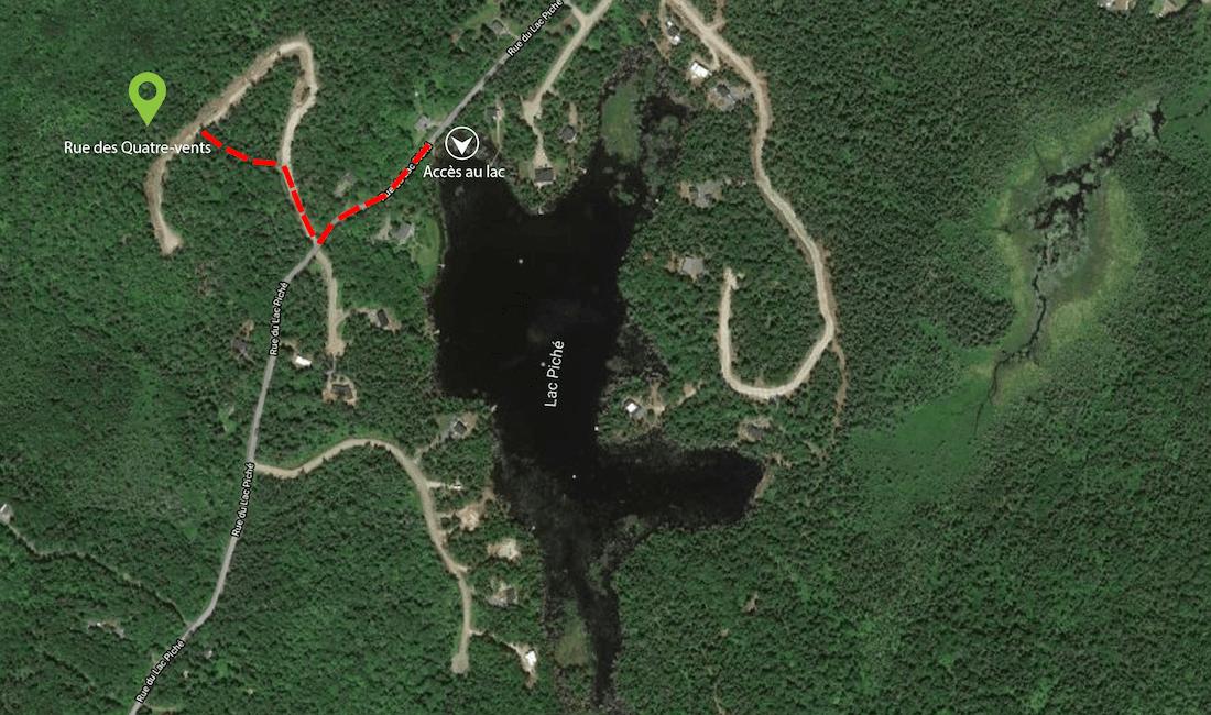 Carte démontrant la distance entre la propriété Le Colibri et l'accès au Lac Piché, à moins de 300 mètres