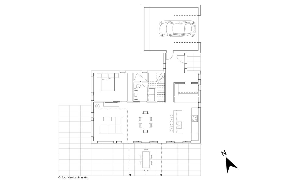 Plan du rez-de-chaussée du projet Le Colibri